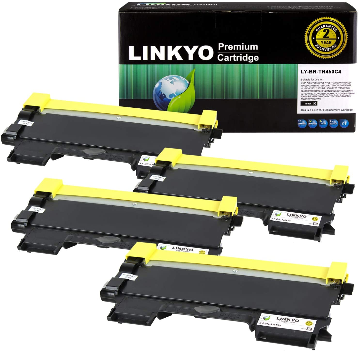 LINKYO Compatible Toner Cartridge Replacement for Brother TN450 TN-450 TN420 (Black, High Yield, 4-Pack)