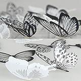 36pièces d'autocollants Lisdripe en papillon pour décorer et faire briller votre maison, vos murs, fenêtres et chambres de bébé, Noir/blanc