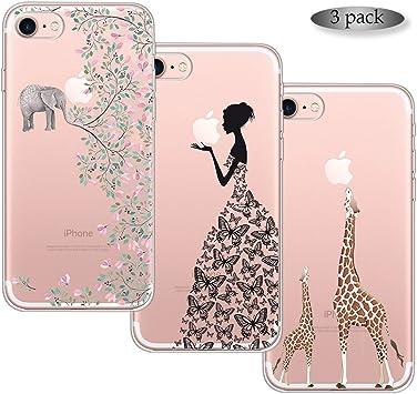 Zeattain 3 Pack Funda iPhone 7, Funda iPhone 8 Ultra Delgado Color ...