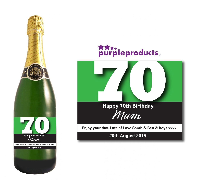 personnalisé Vert 70ème anniversaire étiquette de bouteille de champagne Cadeau pour homme et femme