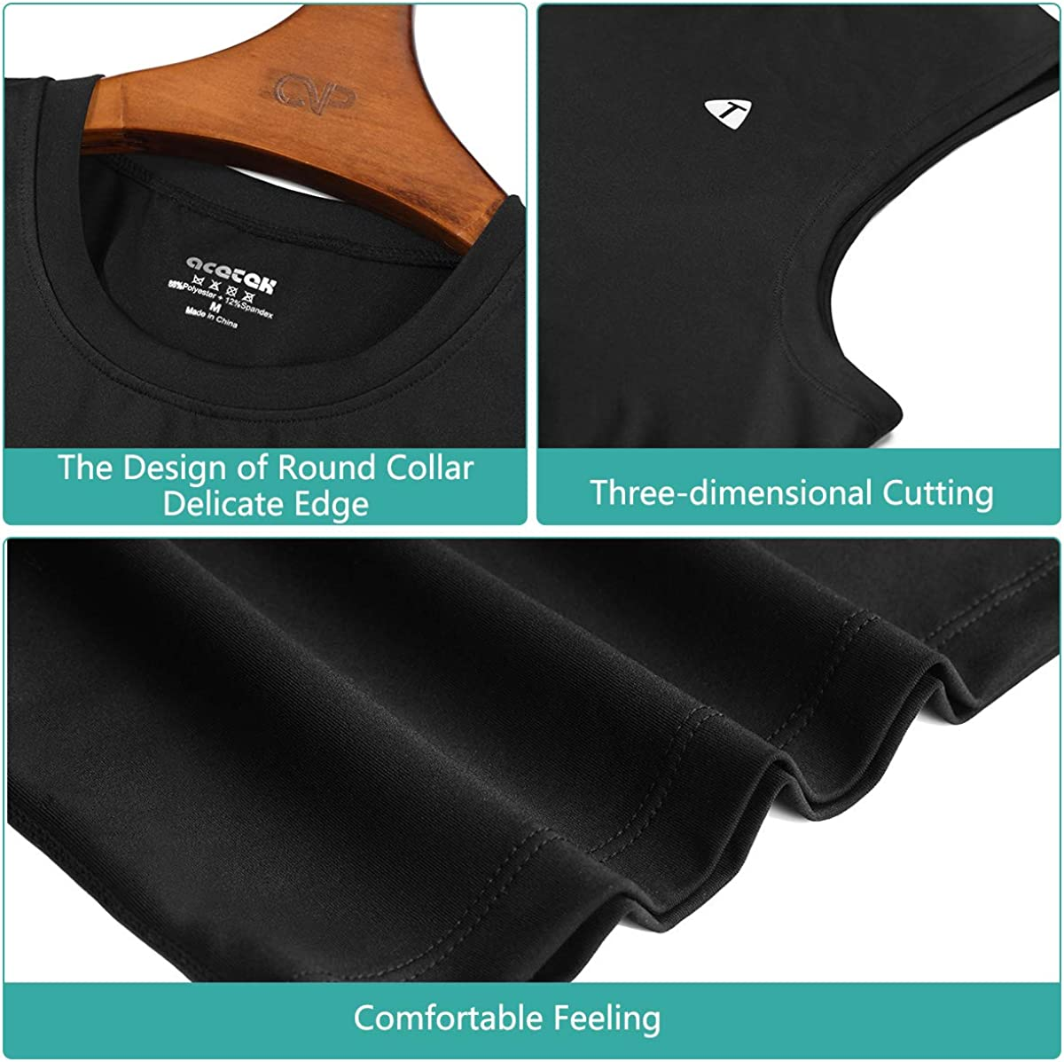 acetek Men/'s Sleeveless Shirts 2 Pack,Sport Fitness Muscle Workout Tank Tops Pack of 2