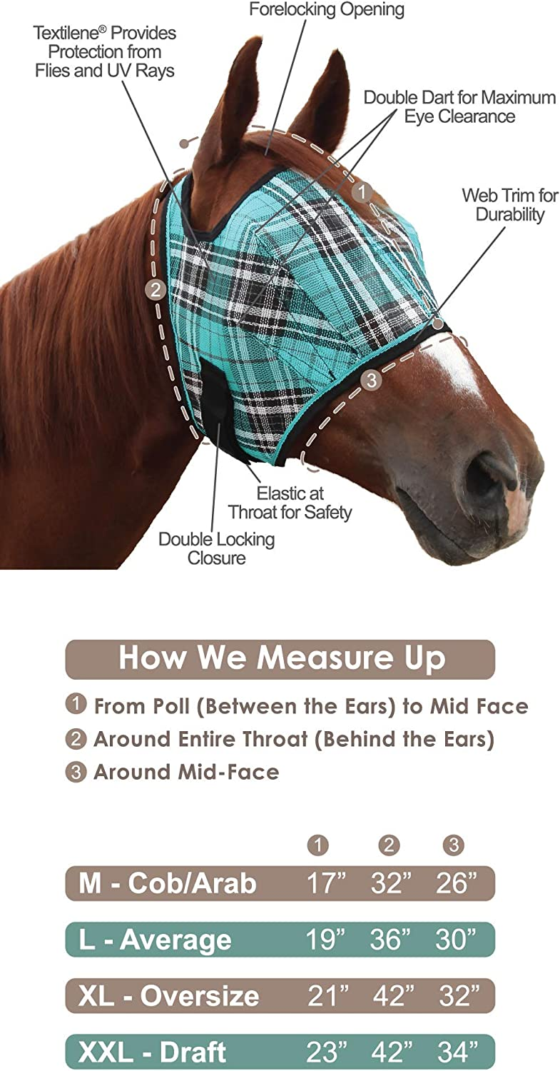 Protection from Insect Bites and Perfect for Wound Recovery Kensington Horse Fly Mask with Protective Mesh and Plush Fleece Ears
