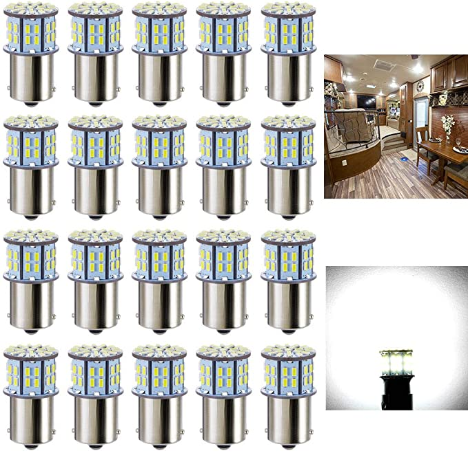 10 x Super Bright 1141 Interior Light Bulbs BA15S 1156 80 SMD LED 1003 900 Lumens RV Camper Trailer Turn Signal Backup Reverse,Natural White