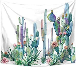 KABAKE Cactus Watercolor Printed Landscape Tapestry Mandala Bohemian Wall Hanging Tapestry Beach Throw, Table Runner, Cloth for Living Room Bedroom Dorm Home Decor (Cactus #3, 79 x 59 inch)