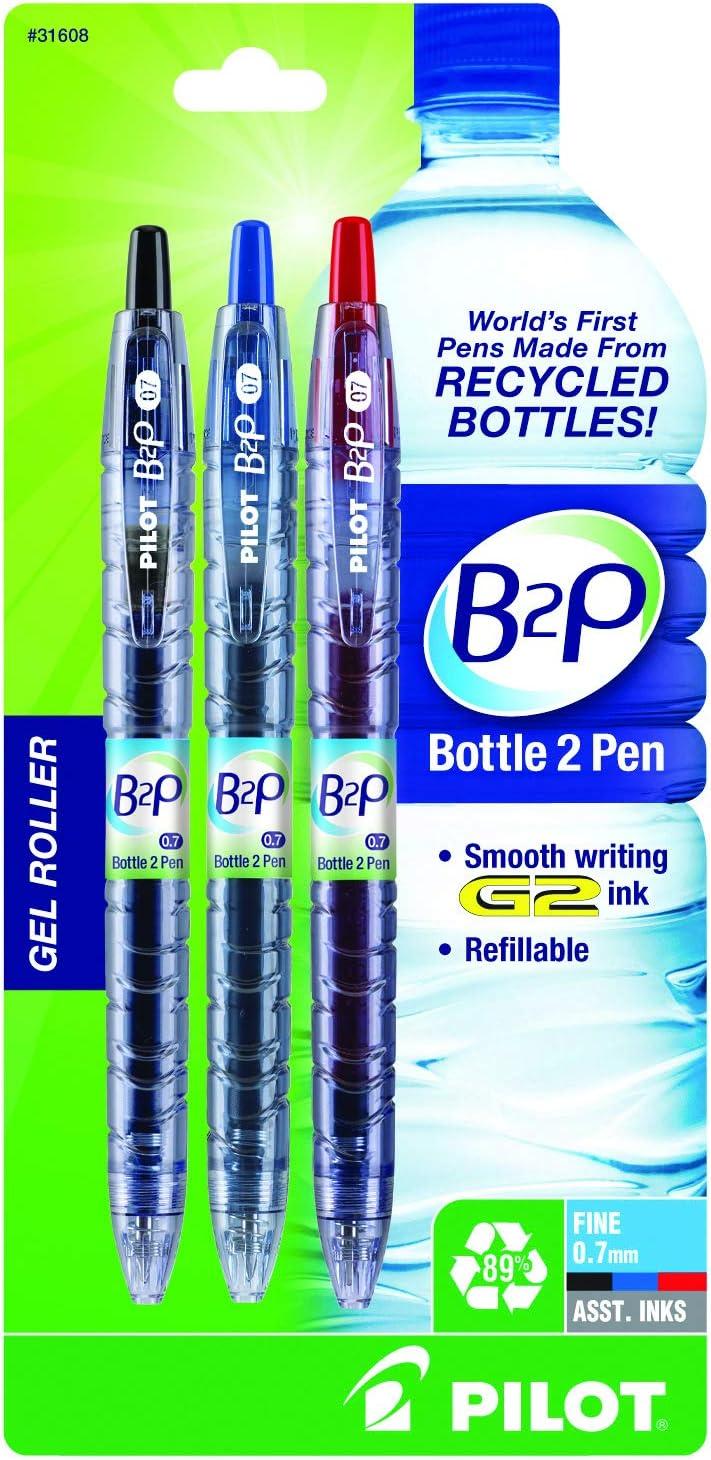 Pilot B2P – botella para pluma retráctil – bolígrafos con tinta de gel hecho de Reciclado Botellas, color colores variados 3-Pack: Amazon.es: Oficina y papelería