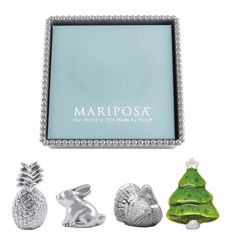 Mariposa Beaded Napkin Box and Set of 4 Napkin Weights - Turkey, Rabbit, Pineapple, and Christmas Tree by Mariposa