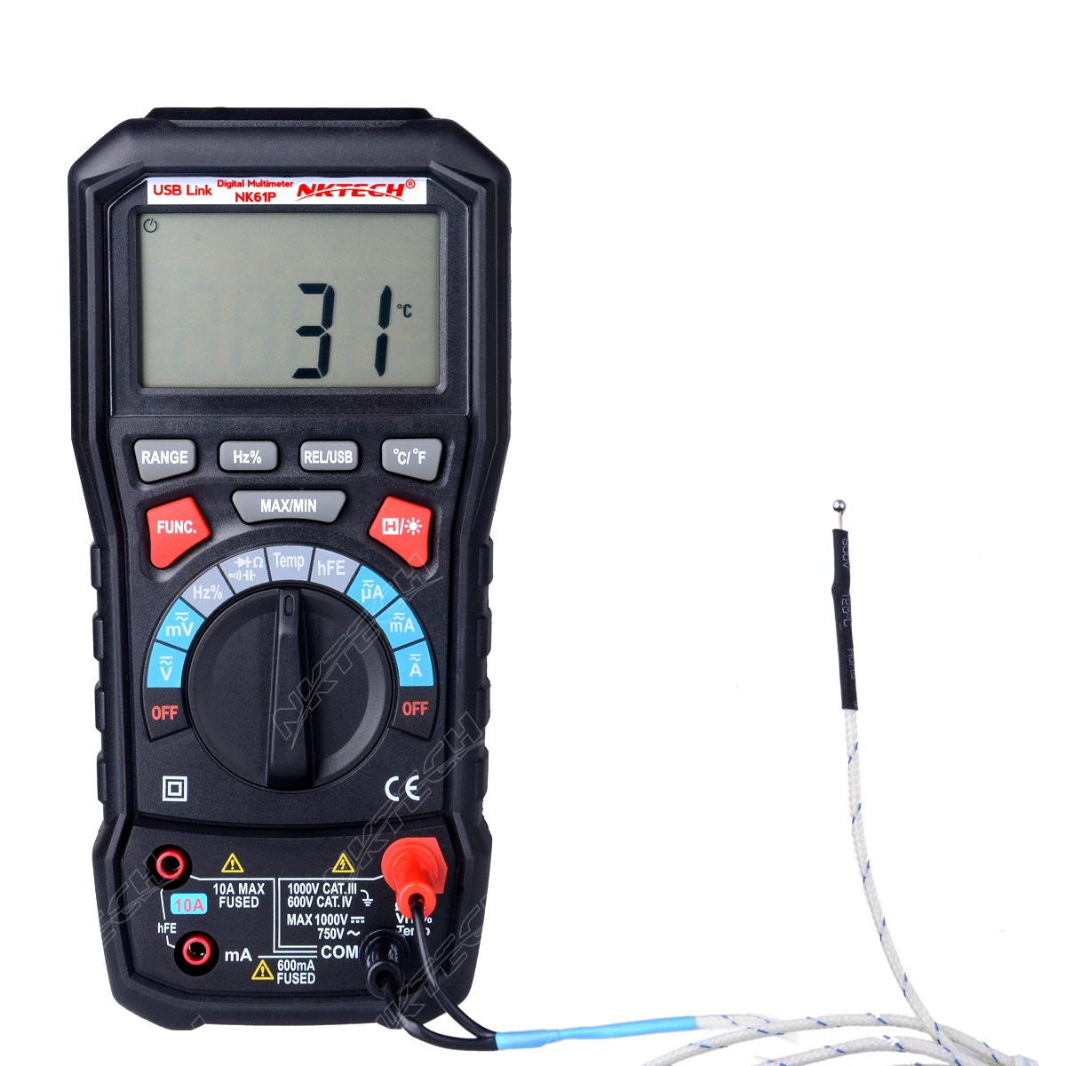 NKTECH NK61P TURE RMS Auto Ranging Digital Multimeter Tester DMM AC DC Resistance Capacitance Temperature Diode Connectivity Frequency Duty Ratio With USB Interface