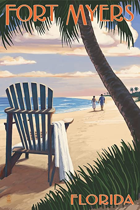 Fort Myers, Florida   Adirondack Chair On The Beach (16x24 Giclee Gallery  Print,