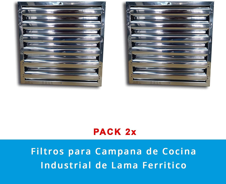 Quickware Filtro para Campana de Cocina Industrial | de Lama Ferrítico | Medidas (490x490x48mm) | Flitro de Lamas en Acero Inoxidable AISI430 | para Hostelería | Colocación Simple y Sencilla: Amazon.es: Hogar