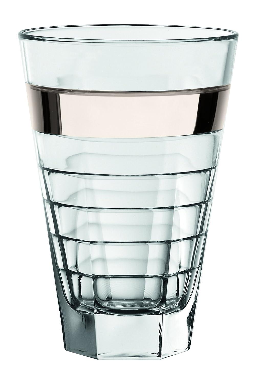 Barski - European Glass - Hiball Tumbler - with Platinum Band - 14.5 oz. - Set of 6 Highball Glasses - Made in Europe