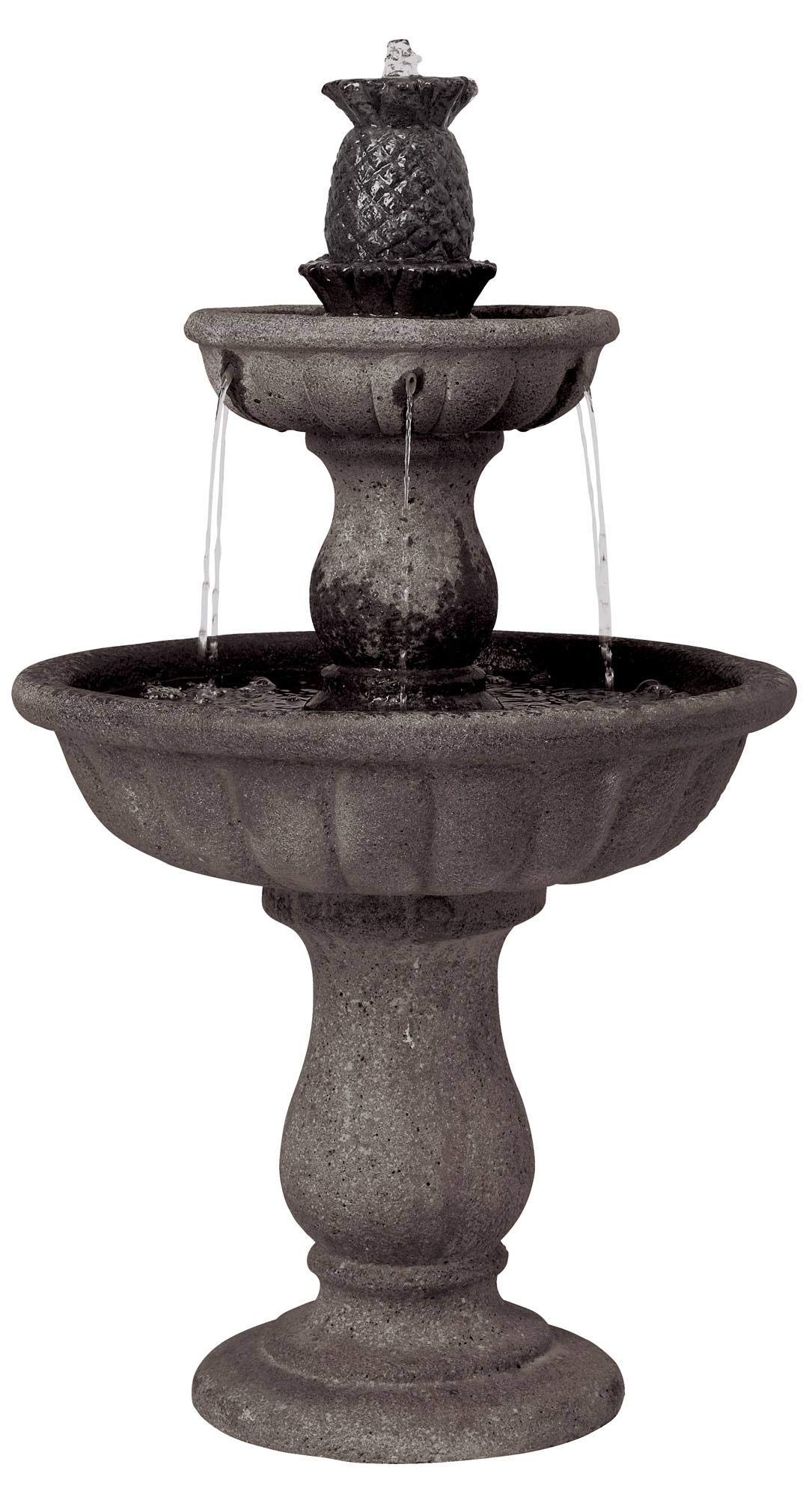 John Timberland Classic Two-Tier 37'' High Reconstituted Granite Fountain