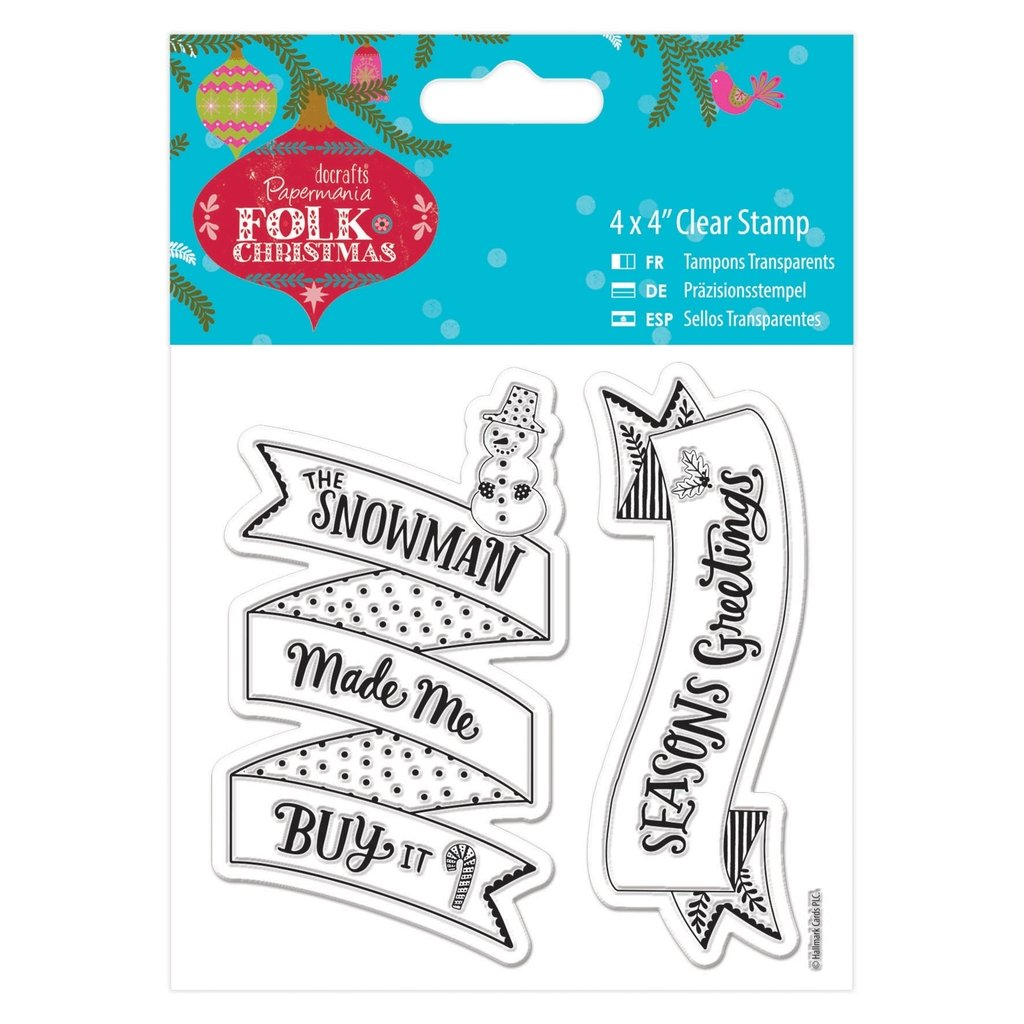 Folk Christmas (Docrafts) - 4 x 4    Clear Craft Card Stamp - Snowman B0171K1B1S | Hochwertig