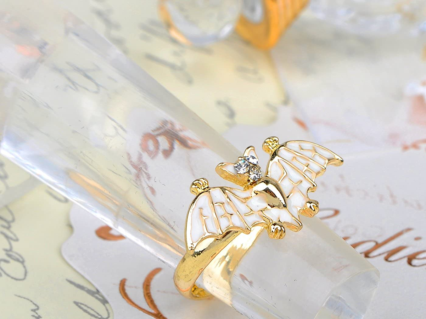 Alilang Golden Tone Petite Enamel Hand painted Flying Bat Night Creature Ring