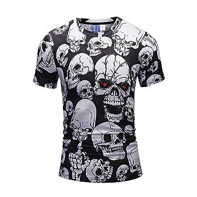 168e91b08b5b Amazon.com  Mose Bone Print for Men Fashion Men s Casual Scary Skulls 3D  Printing Short Sleeve O-Neck T-Shirt Top Blouse  Clothing