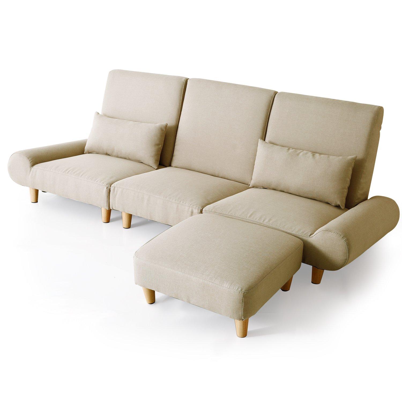 LOWYA (ロウヤ) ソファ カウチソファ テーブル付き ソファ分割可能 レイアウト自由 ローソファ オットマン 三人掛け 布張り ベージュ おしゃれ 新生活 B01MUG7N5N ベージュ