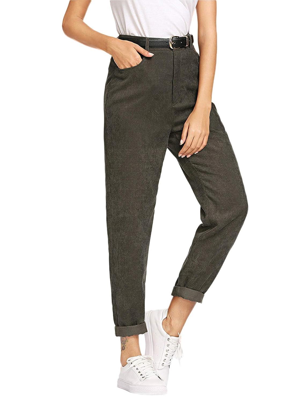 Milumia Womens Casual Mid Waist Plaid Zip Side Pants