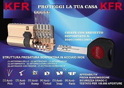 KFR Cilindro europeo de gran seguridad patentado con cerradura a 10 conectores, anti bumping,