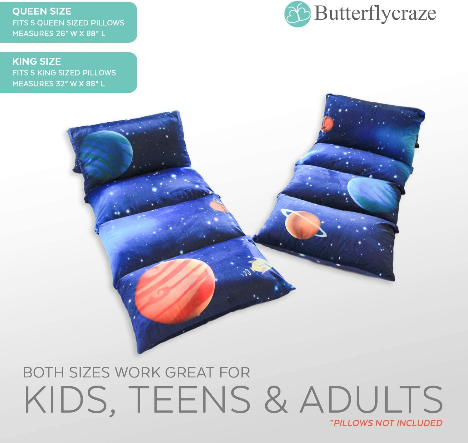 Luxurious Premium Plush Fabric Butterfly Craze Girls Floor Lounger Seats Cover and Pillow Cover Made of Super Soft Great for SLEEPOVERS Slumber Parties Perfect Reading and Watching TV Cushion