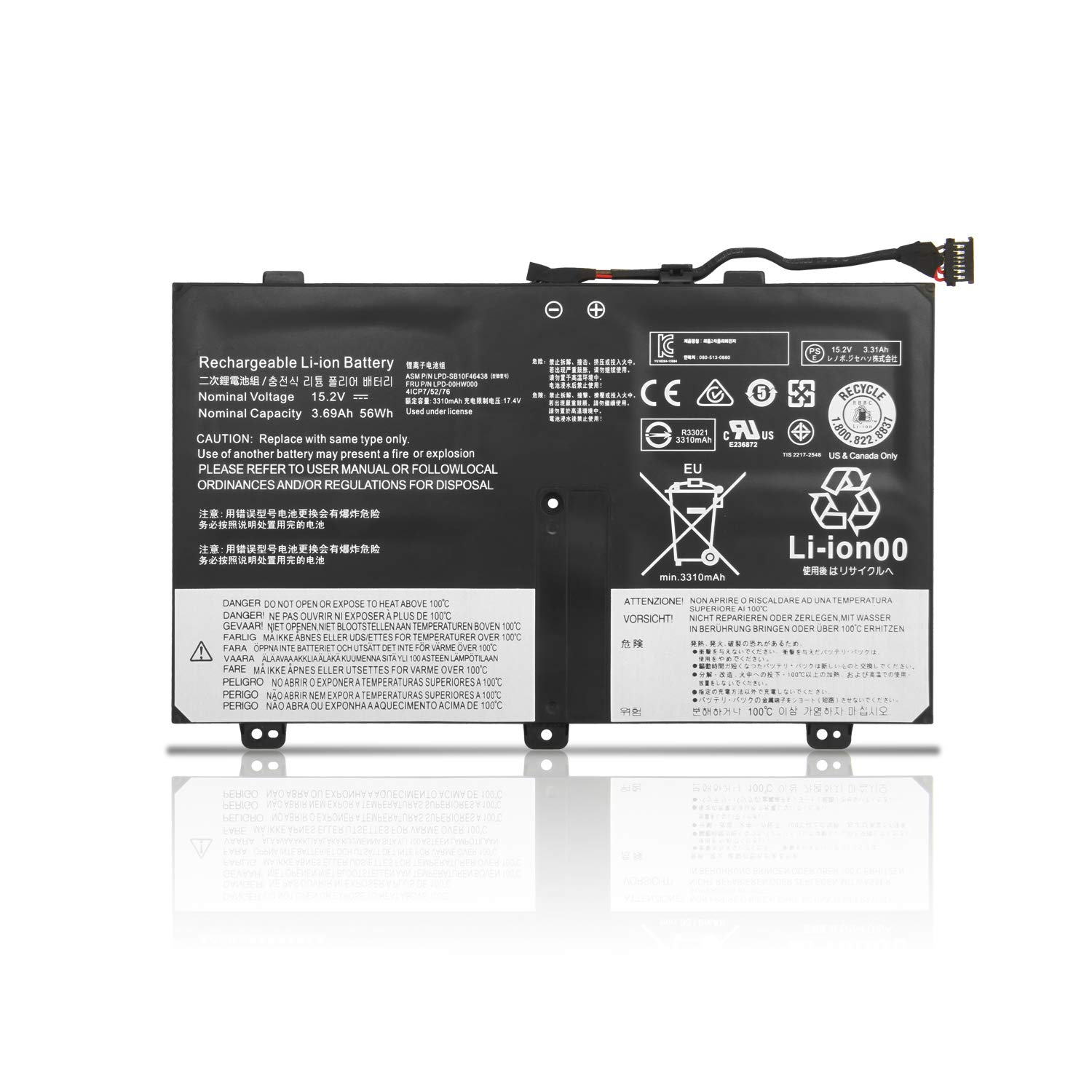ZTHY 56Wh 00HW000 00HW001 Laptop Battery for Lenovo ThinkPad S3 Yoga 14 Series Notebook SB10F46438 SB10F46439 4ICP7/52/76 15.2V 3.69Ah