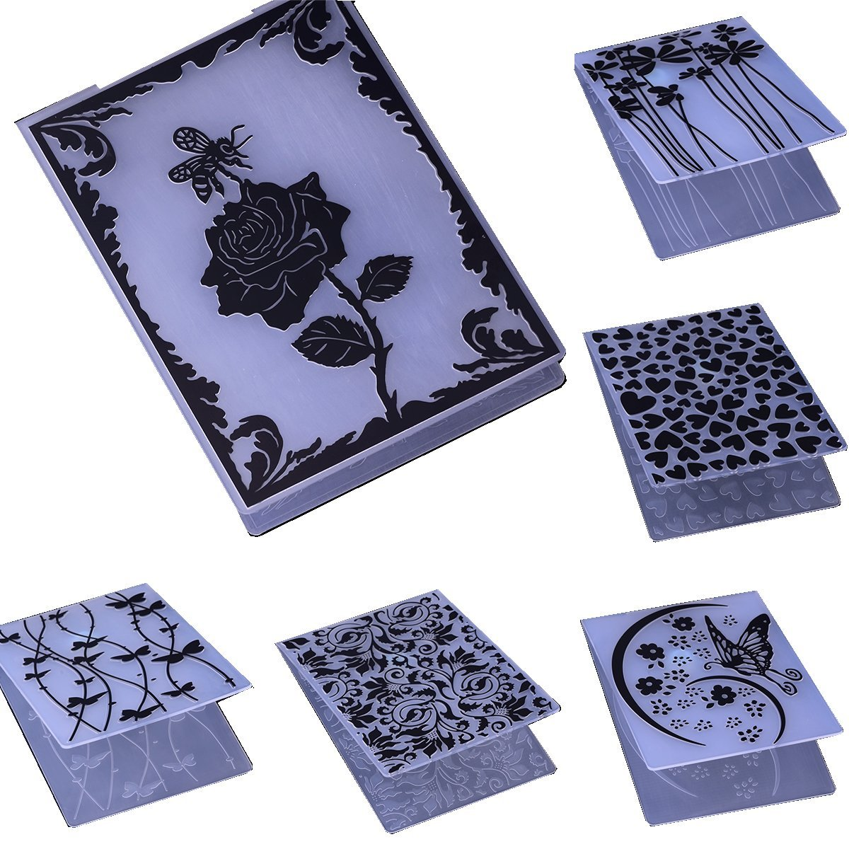 Embossing Folder for Card Making Flower Butterfly Heart DIY Plastic Scrapbooking Photo Album Card Paper DIY Craft Decoration Template Mold (6 Pcs)
