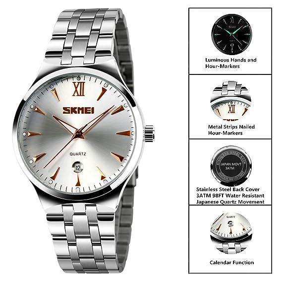 9d99a43f8ec WUTONYU Women s Analog Quartz Watch Stainless Steel Luminous Business  Casual Waterproof Calendar Date Window Wristwatch (