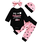Crazybee Baby Girls My 1st Halloween Outfits Infant Spider Bodysuit Pant Clothing Sets (Pink,0-3 Months)