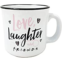 Silver Buffalo Friends Love Laughter and Friends Heart 20 Oz Ceramic Camper-Style Coffee Mug