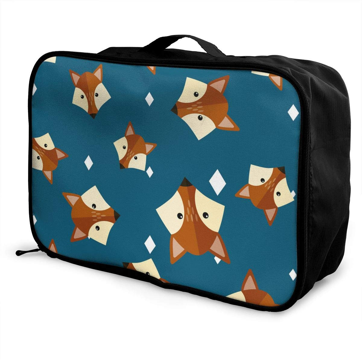 ADGAI Cute Little Fox Head Canvas Travel Weekender Bag,Fashion Custom Lightweight Large Capacity Portable Luggage Bag,Suitcase Trolley Bag