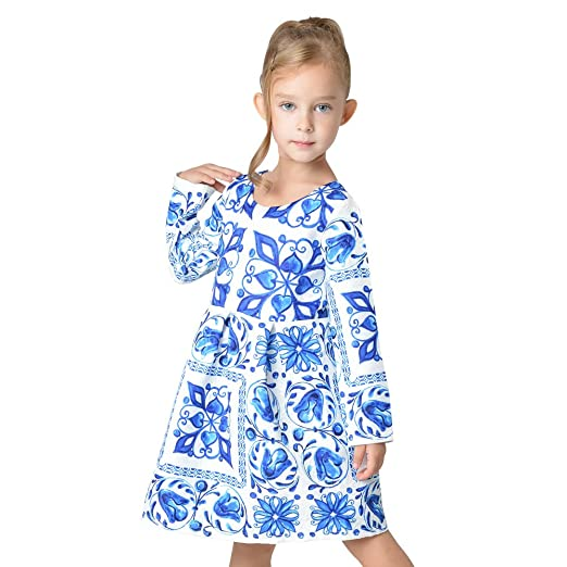 6e9b76270490 Sanlutoz Girls  Majolica Pattern Long Sleeve Dresses for Special Occasions  ...