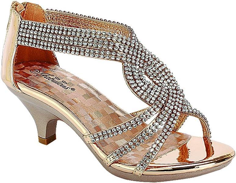 a8ccbb93f JJF Shoes Fabulous Angel-37K Little Girls Bling Rhinestone Platform Dress  Heels Sandals ...