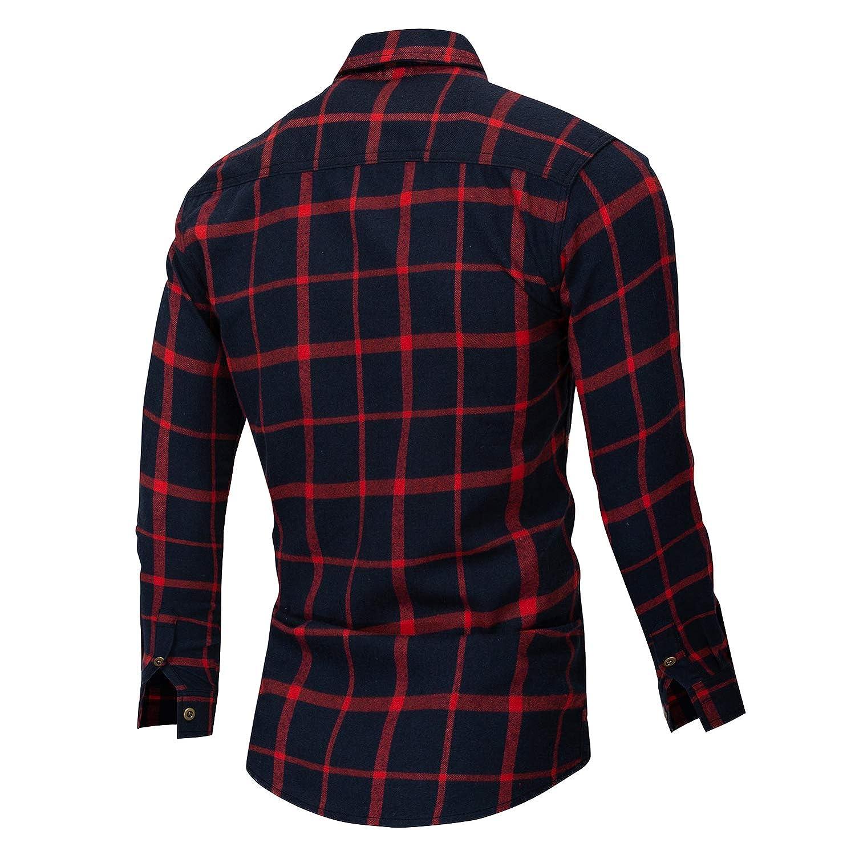Casual Button-Down Man Shirt Fashion Turn-Down Collar Male Full Shirt Men Long Sleeve Plaid Shirt