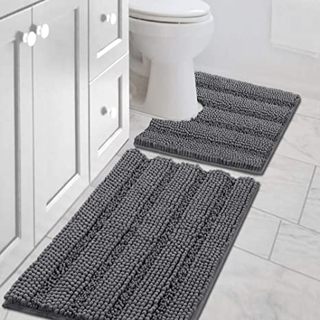 Tub Bath Rugs for Bathroom Non Slip Extra Thick Chenille Striped Bath Rug 20 x 32 Absorbent Non Skid Fluffy Soft Shaggy Rugs Washable Dry Fast Plush Mats for Indoor Ivory Bath Room