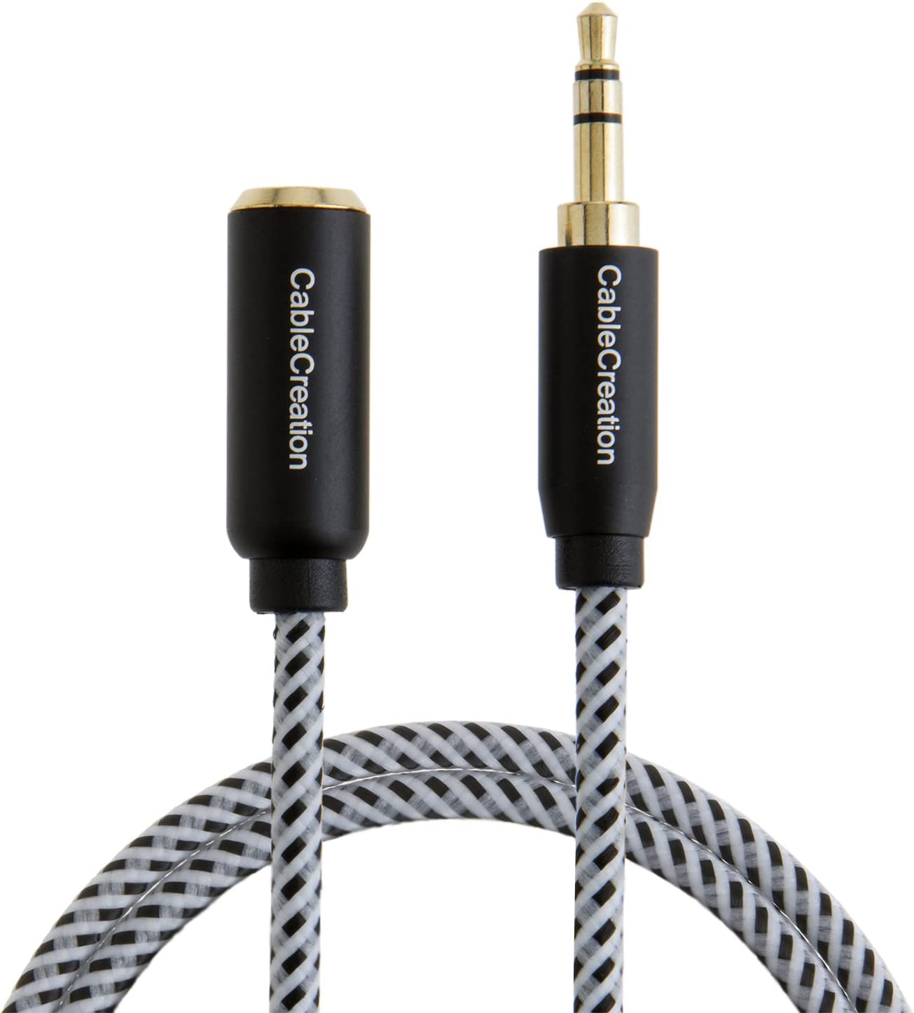 Compatible Smartphone//Tablet//Speaker,3.5mm Devices/& More Black /& White CableCreation 3.3 Feet 3.5mm Male to Female Extension Stereo Audio Extension Cable Adapter Gold Plated Aux Extension Cable