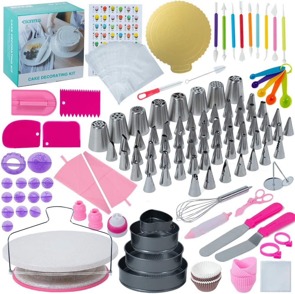Cake Decorating Supplies Kit 320 PCS, esonmus Cupcake Decorating Kit 48 Numbered Icing Tips 1 Turntable Stand 8 Russian Nozzles Straight & Angled Spatula Baking Supplies for Beginners Bake-Lovers