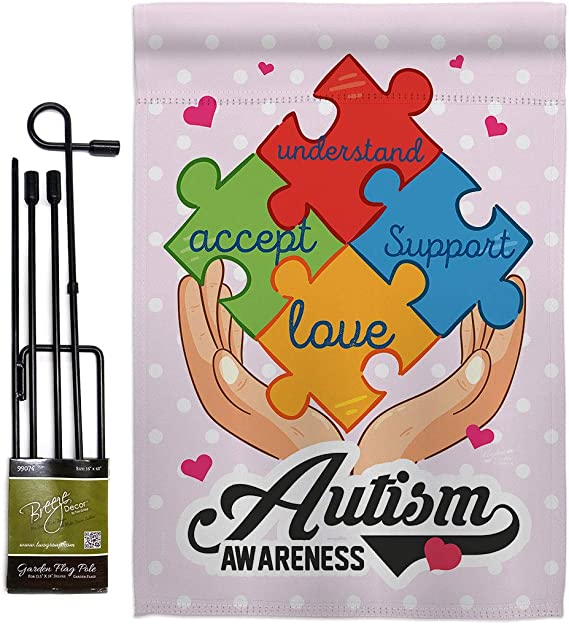 Awareness Autism Support Garden Flag Set With Stand Inspirational Survivor Ribbon Prevention Cancer Breast Blm Small Decorative Gift Yard House Banner Double Sided Made In Usa 13 X 18 5 Garden