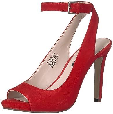 443cd7c202b Nine West Women s BARTOINA Suede Heeled Sandal red 8 ...