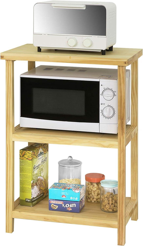 SoBuy FSB22-N Estantería de 3 Estantes para Cocina Estante para microondas Madera Pino ES