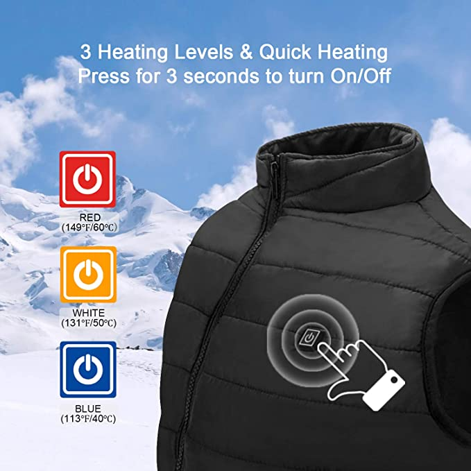 Black USB Electric Heated Jacket for Men//Women,Lightweight Washable USB Warm Heat Vest with 1 Heating Zones and 3-Level Temperature,M Heated Shirt for Unisex USB Charging Warm Gilet with Adj