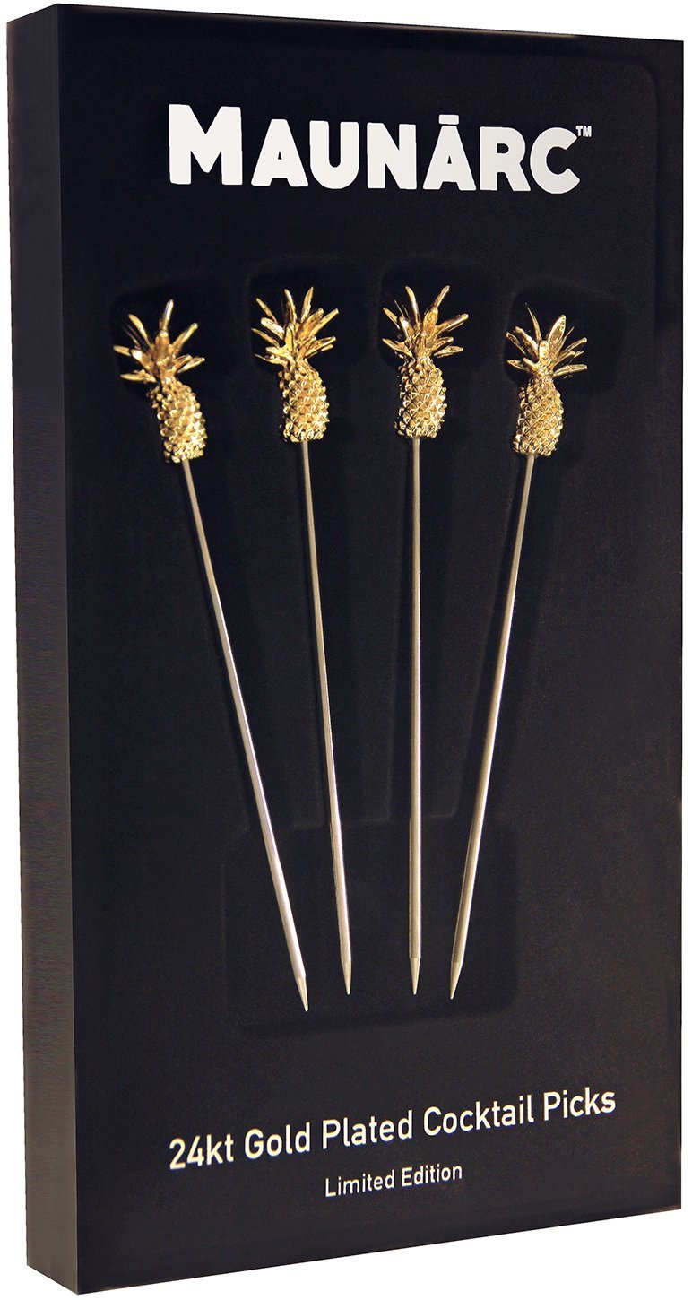 Maunárc Martini Picks with 24kt Gold Plated Pineapple Charms, 100% Stainless Steel Metal Cocktail Stirrers, (Limited Edition), Housewarming Gift, Set of 4