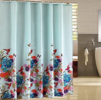 Eforcurtain Elegant Garden Birds Print Shower Curtain Waterproof FabricBlossoming Flowers Bathroom Curtains Liner With