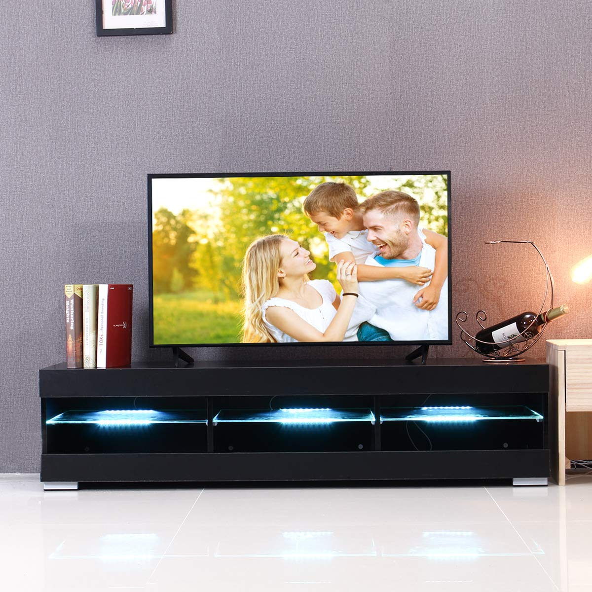 KINGSO TV Stand for 55 Inch TV, TV Stands with Led Lights Entertainment Center, High Gloss TV Table TV Cabinet Modern TV Console Living Room Furniture – Black