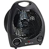 Electric Fan Heater Black 2000W Portable with Thermostat Room Floor Table Desk