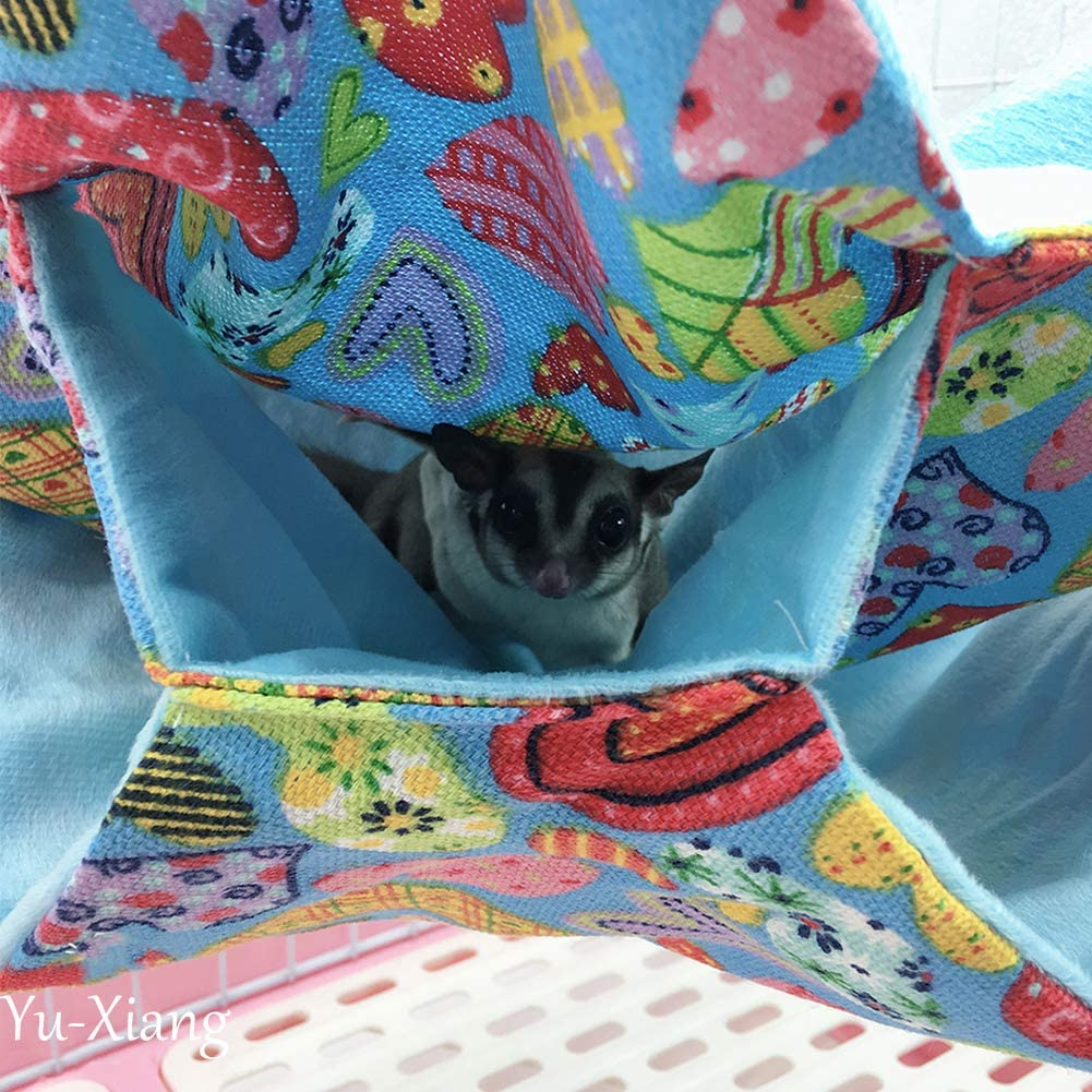 Yu-Xiang 3 Layers Hamster Hammock Hanging Labyrinth Design Warm Short Fleece Guinea Pig Bed Hedgehogs Nest for Small Animal Hotumn Summer Winter Spring Heart