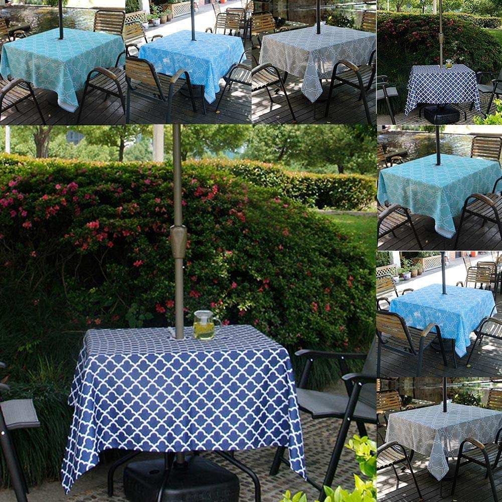 152cm Round Tablecloth Waterproof Garden Table Cloth With Parasol Hole And Zipper For Patio Garden Party And BBQ azurely Outdoor Table Cloth
