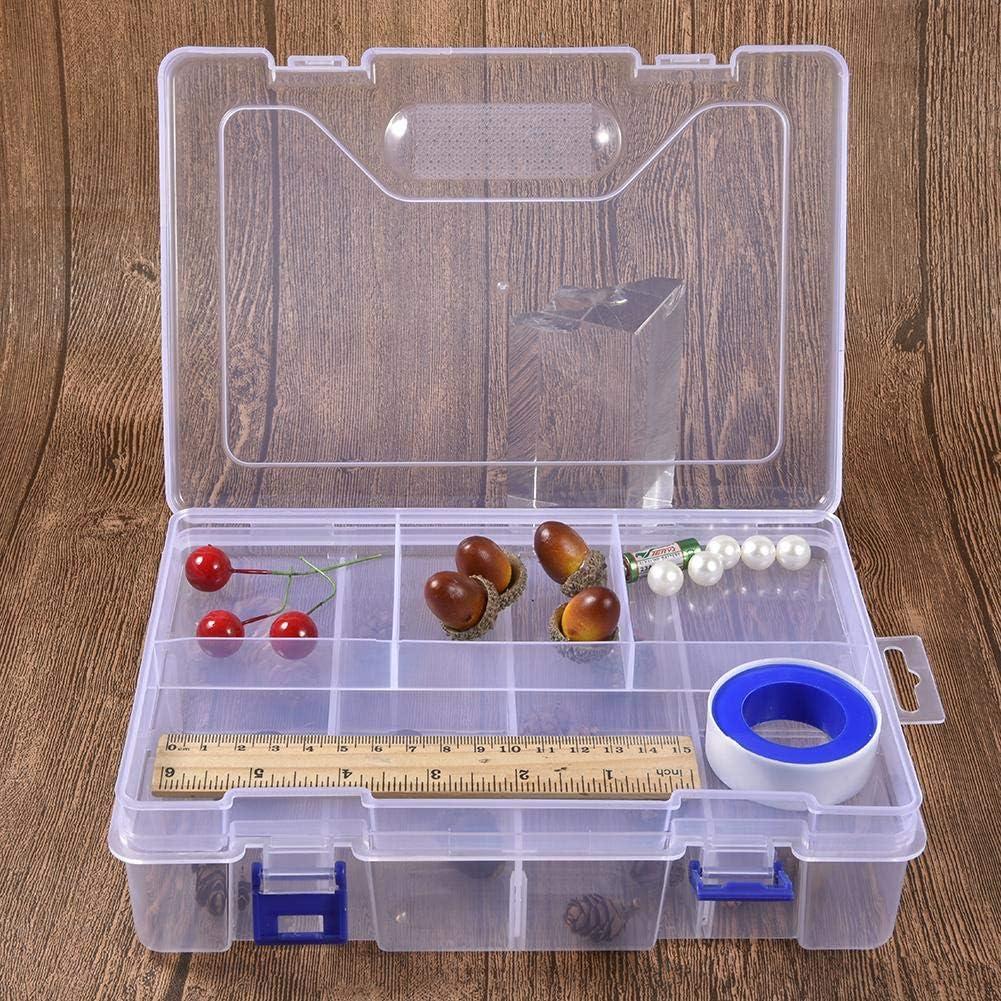 Nishci 2 Cajas organizadoras de plástico con separadores, Cajas de plástico de Doble Capa extraíbles, Caja de plástico Transparente para Joyas, Organizador Multiusos: Amazon.es: Hogar