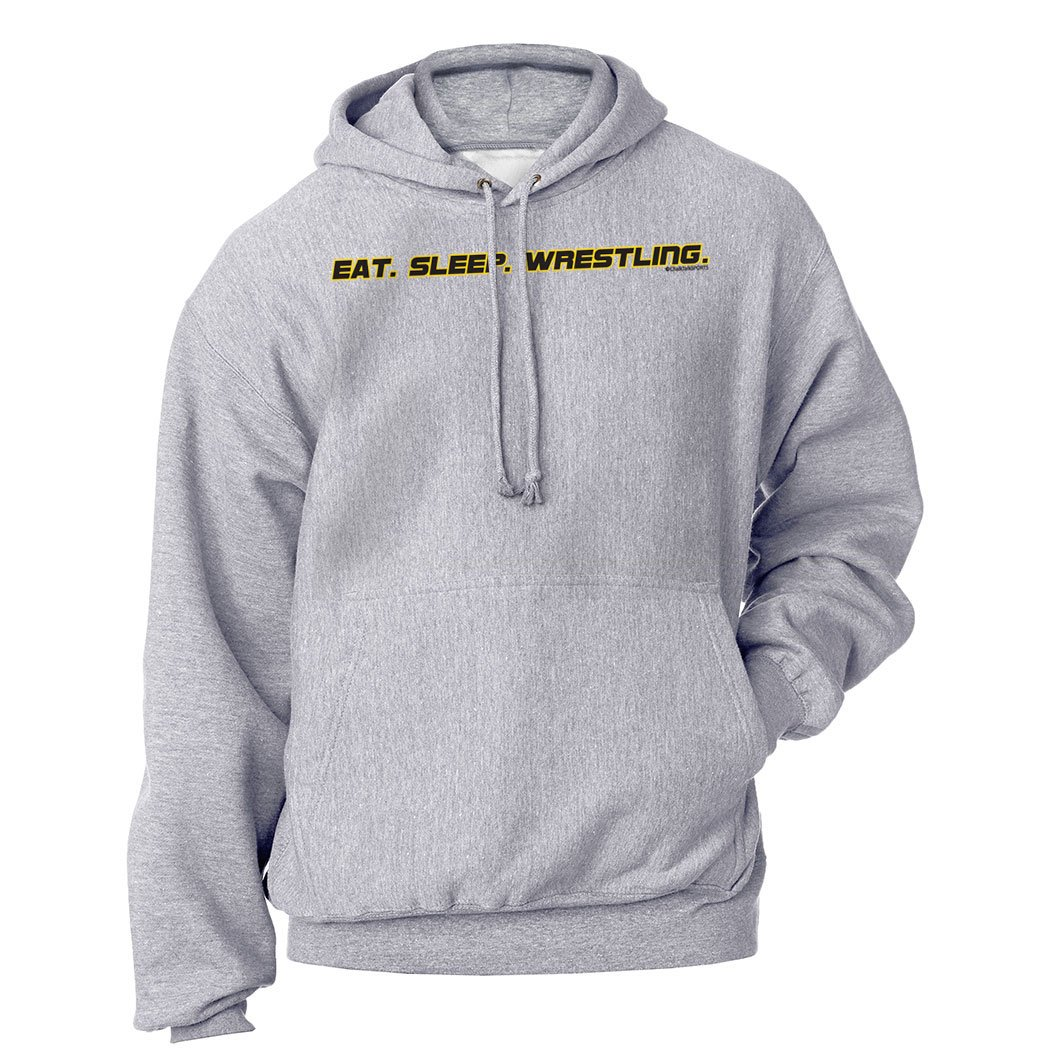 ChalkTalkSPORTS | Wrestling Standard Sweatshirt | Eat Sleep Wrestling | Youth Medium | Gray