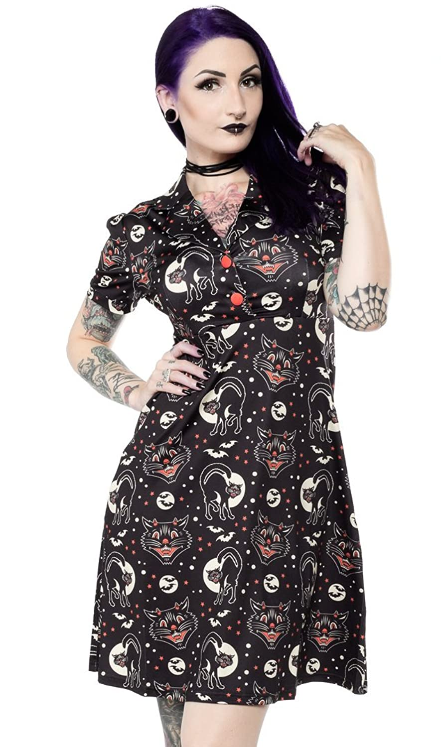 Vintage Retro Halloween Themed Clothing Sourpuss Lucy Fur Rosie Dress $53.99 AT vintagedancer.com
