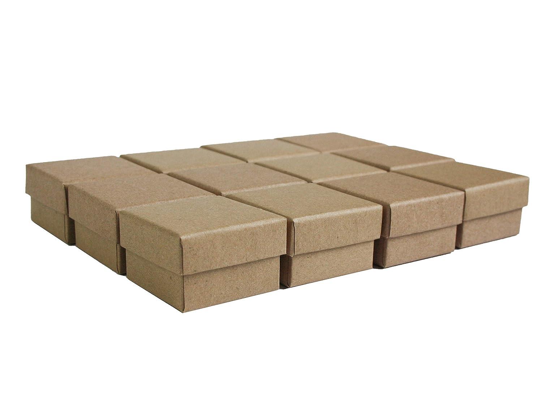 Emartbuy Set di 24 Marrone Quadrato Cartone Gioielleria Anello Scatole, Confezione Regalo per Anniversari, Matrimoni, Compleanni Taglia - 5 cm x 5 cm x 4 cm