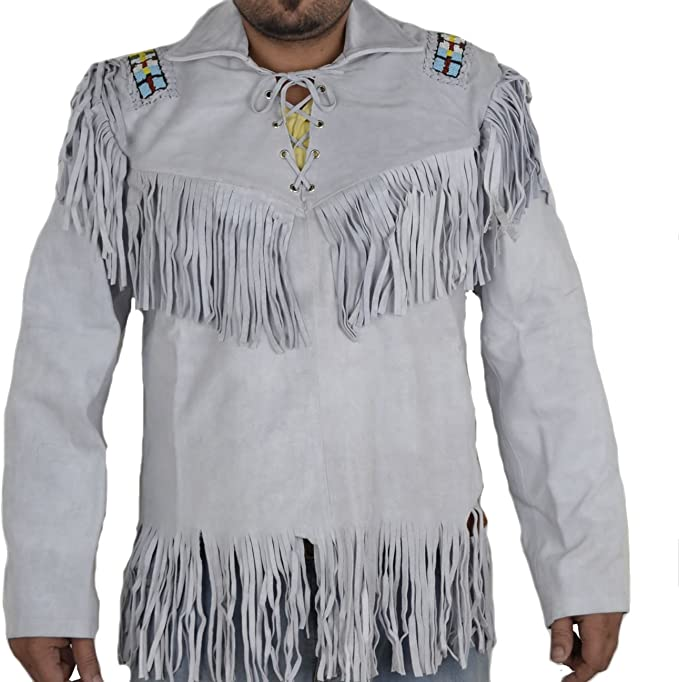 coolhides Hombres Camisa De Vaquero de Piel y Flecos: Amazon.es: Ropa y accesorios