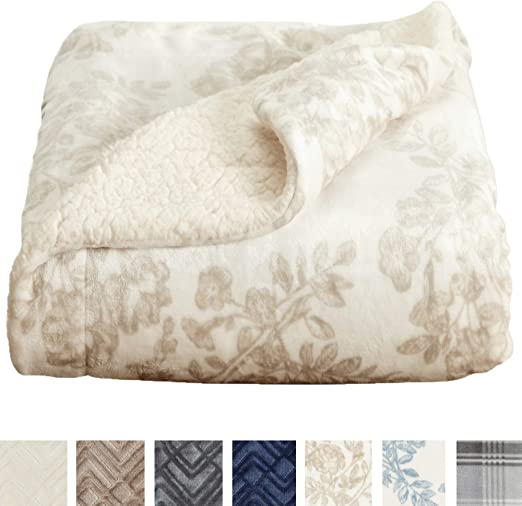 Amazon Com Home Fashion Designs Premium Reversible Sherpa And Sculpted Velvet Plush Luxury Blanket Fuzzy Soft Warm Berber Fleece Bed Blanket Brand King Toile Taupe Home Kitchen